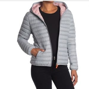 Save The Duck Gray Pink Nylon Puffer Jacket